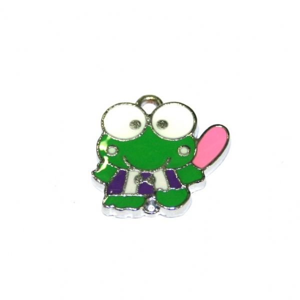 1pce x 19*18mm green frog with purple belt enamel charm - S.D03 - CHE1118